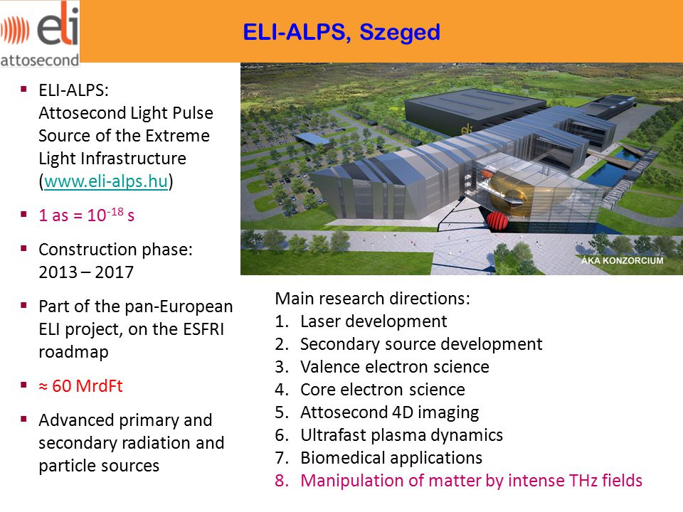  ELI-ALPS: Attosecond Light Pulse Source of the Extreme Light Infrastructure (www.eli-alps.hu)www.eli-alps.hu  1 as = 10 -18 s  Construction phase: