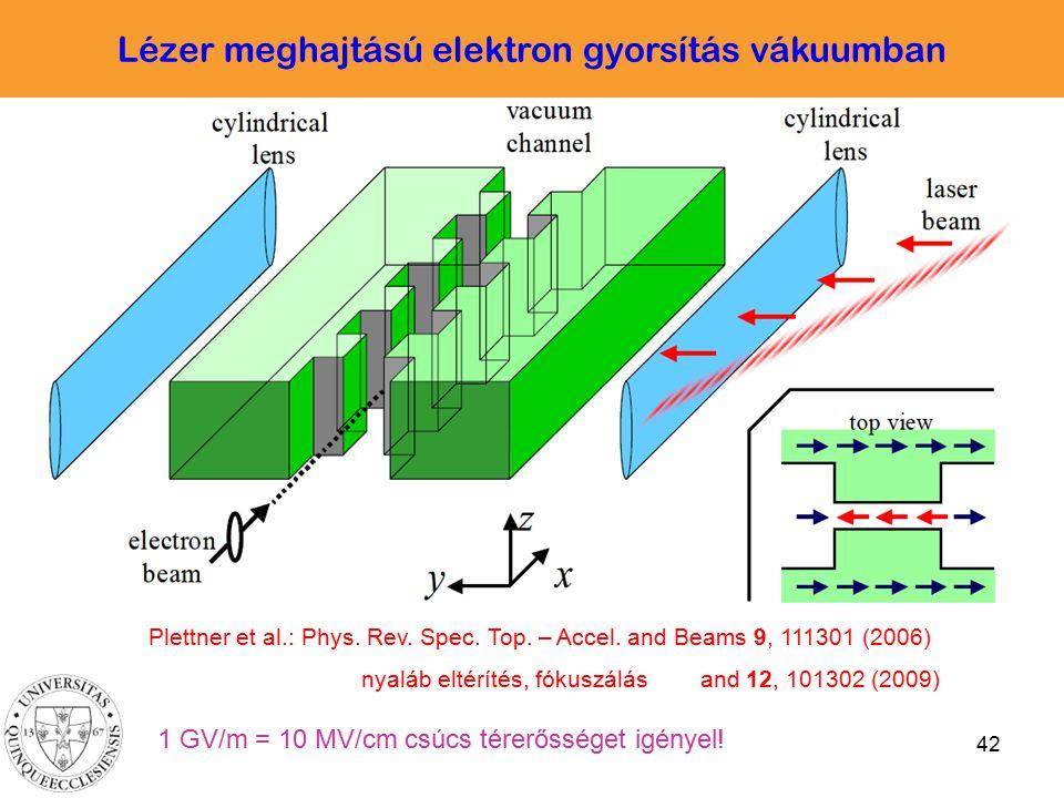 42 Plettner et al.: Phys. Rev. Spec. Top. – Accel. and Beams 9, 111301 (2006) nyaláb eltérítés, fókuszálás and 12, 101302 (2009) Lézer meghajtású elek