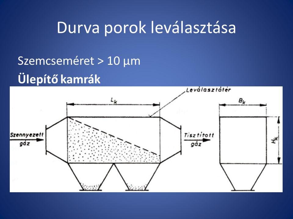 Durva porok leválasztása Szemcseméret > 10 µm Ülepítő kamrák