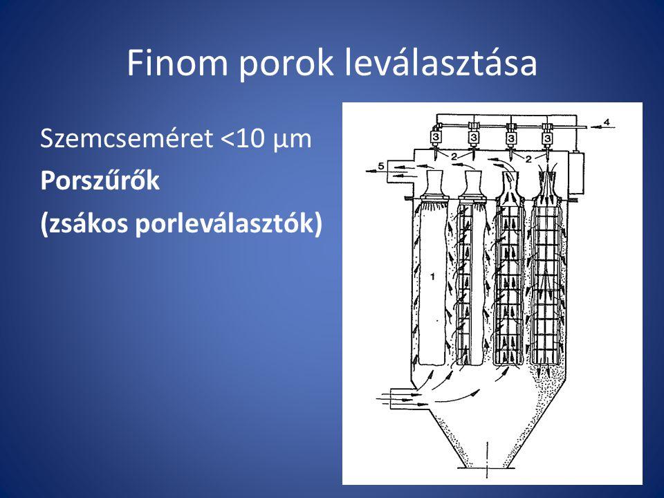 Finom porok leválasztása Szemcseméret <10 µm Porszűrők (zsákos porleválasztók)
