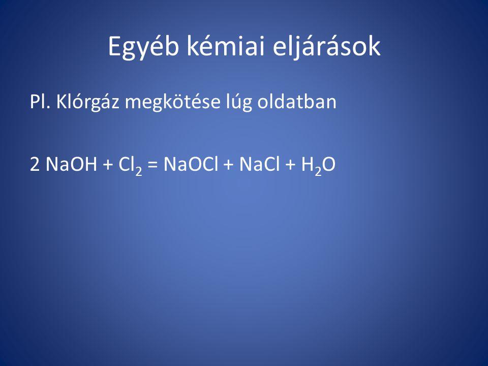 Egyéb kémiai eljárások Pl. Klórgáz megkötése lúg oldatban 2 NaOH + Cl 2 = NaOCl + NaCl + H 2 O