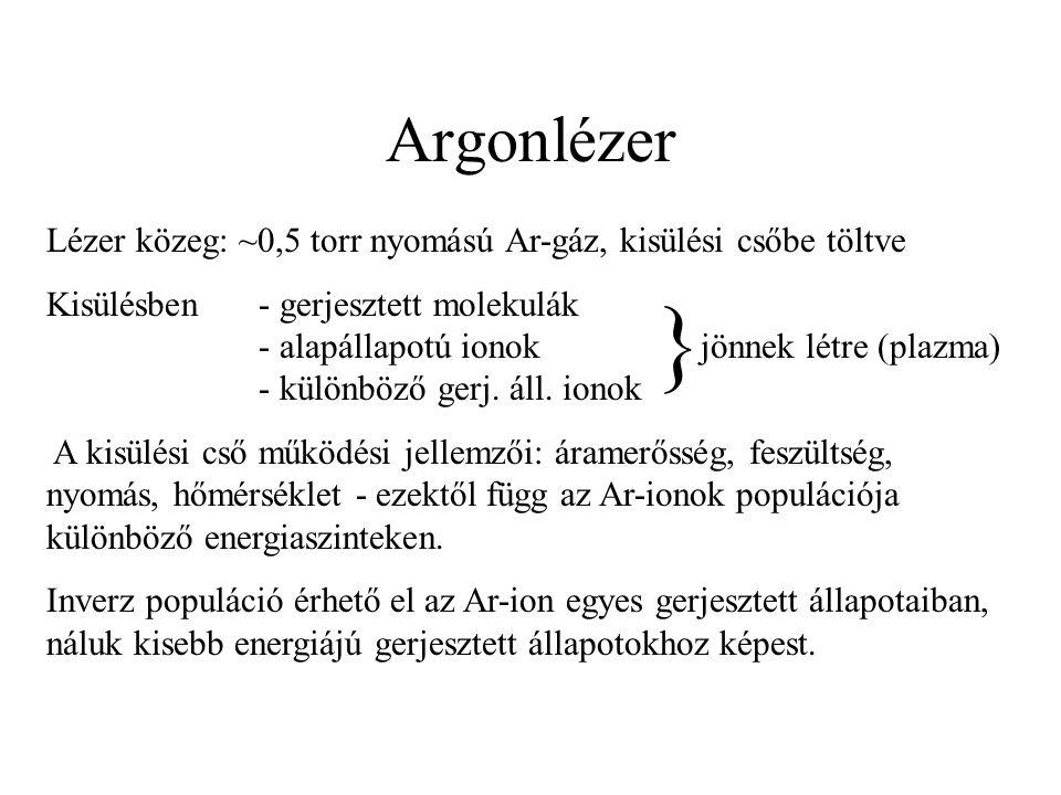 Argonlézer Lézer közeg: ~0,5 torr nyomású Ar-gáz, kisülési csőbe töltve Kisülésben- gerjesztett molekulák - alapállapotú ionok jönnek létre (plazma) -