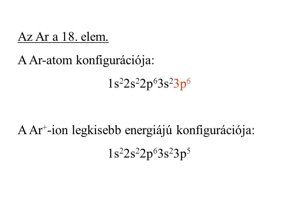 Az Ar a 18. elem. A Ar-atom konfigurációja: 1s 2 2s 2 2p 6 3s 2 3p 6 A Ar + -ion legkisebb energiájú konfigurációja: 1s 2 2s 2 2p 6 3s 2 3p 5
