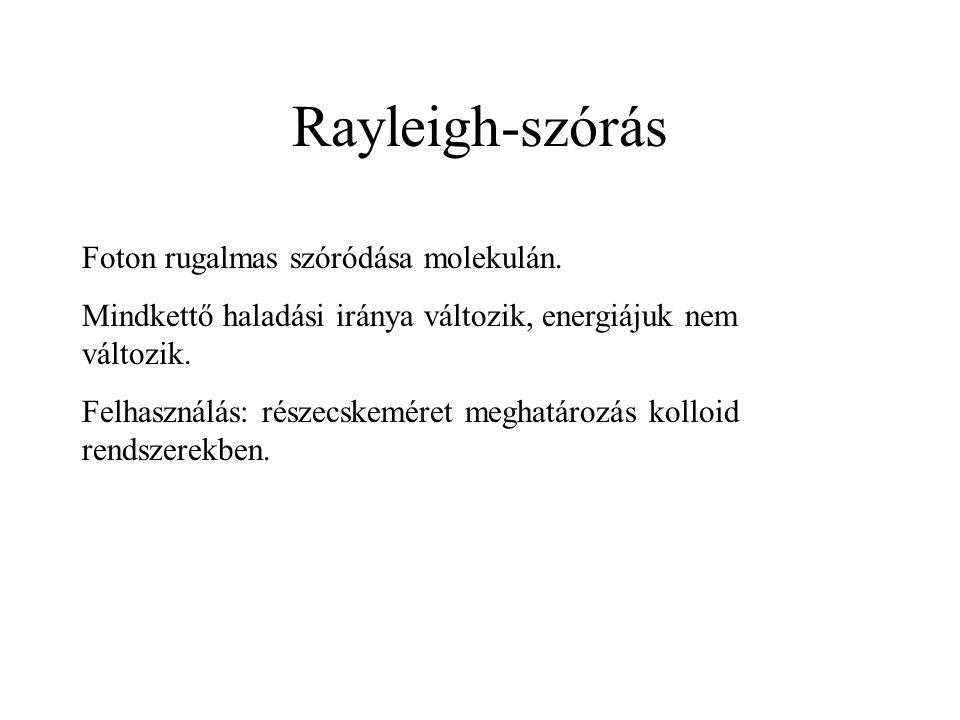 Rayleigh-szórás Foton rugalmas szóródása molekulán. Mindkettő haladási iránya változik, energiájuk nem változik. Felhasználás: részecskeméret meghatár
