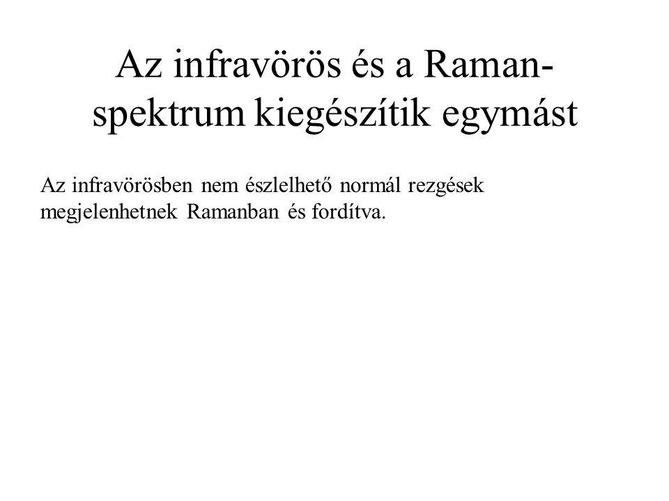 Az infravörös és a Raman- spektrum kiegészítik egymást Az infravörösben nem észlelhető normál rezgések megjelenhetnek Ramanban és fordítva.