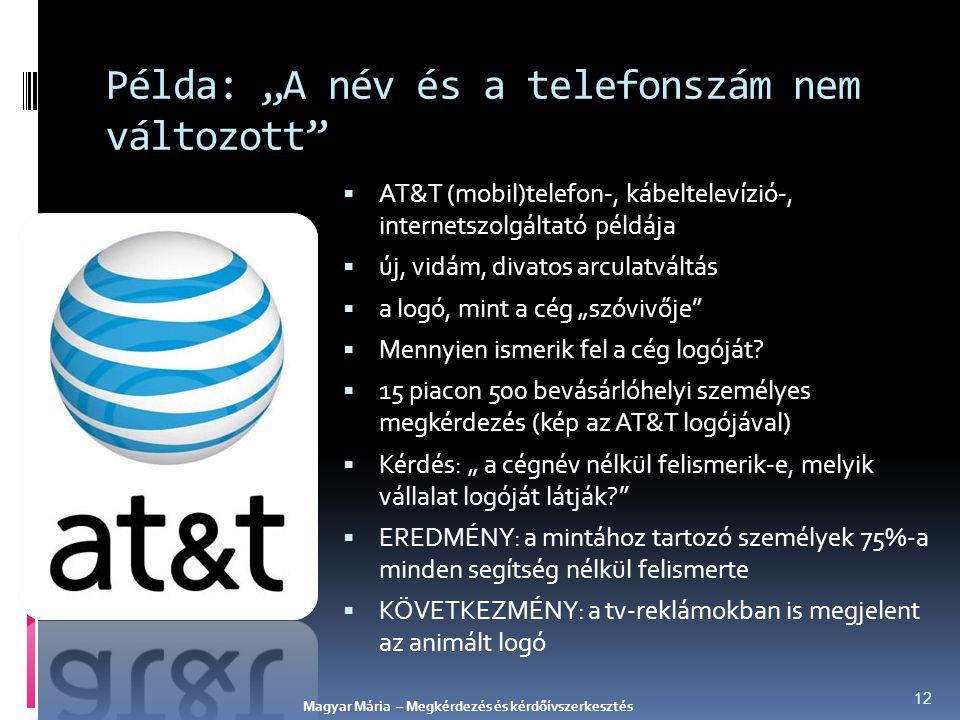 """Példa: """"A név és a telefonszám nem változott""""  AT&T (mobil)telefon-, kábeltelevízió-, internetszolgáltató példája  új, vidám, divatos arculatváltás"""