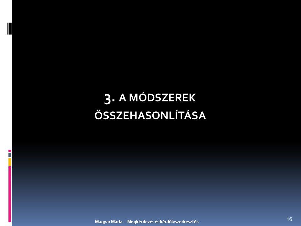 3. A MÓDSZEREK ÖSSZEHASONLÍTÁSA Magyar Mária – Megkérdezés és kérdőívszerkesztés 16