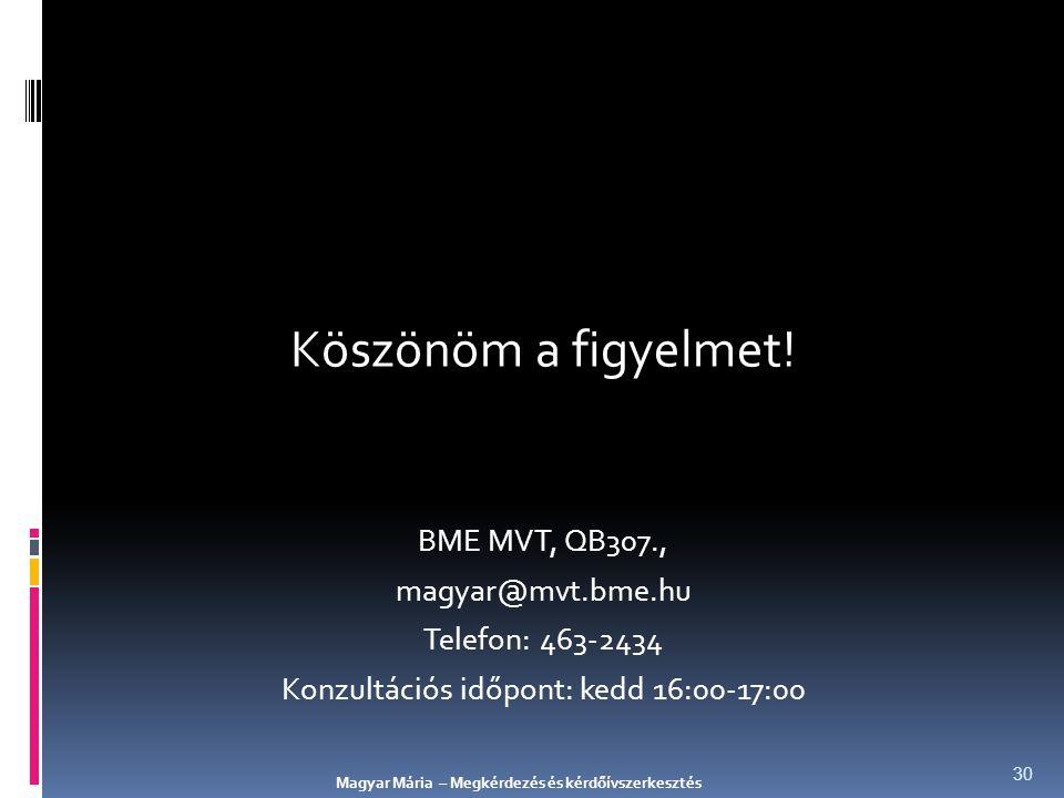 Köszönöm a figyelmet! BME MVT, QB307., magyar@mvt.bme.hu Telefon: 463-2434 Konzultációs időpont: kedd 16:00-17:00 Magyar Mária – Megkérdezés és kérdőí