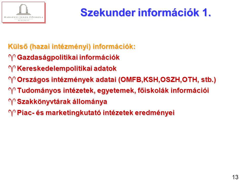 13 Szekunder információk 1. Külső (hazai intézményi) információk: ^Gazdaságpolitikai információk ^Kereskedelempolitikai adatok ^Országos intézmények a
