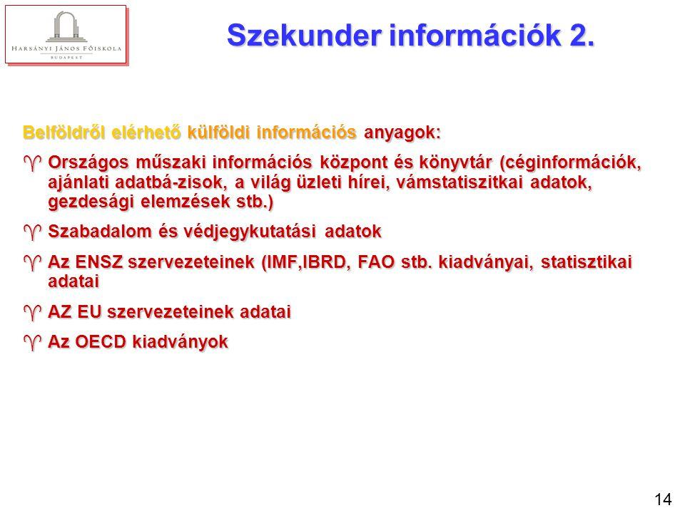 14 Szekunder információk 2. Belföldről elérhető külföldi információs anyagok: ^Országos műszaki információs központ és könyvtár (céginformációk, ajánl