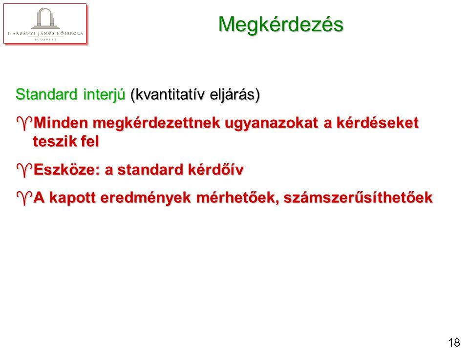 18 Megkérdezés Standard interjú (kvantitatív eljárás) ^Minden megkérdezettnek ugyanazokat a kérdéseket teszik fel ^Eszköze: a standard kérdőív ^A kapo