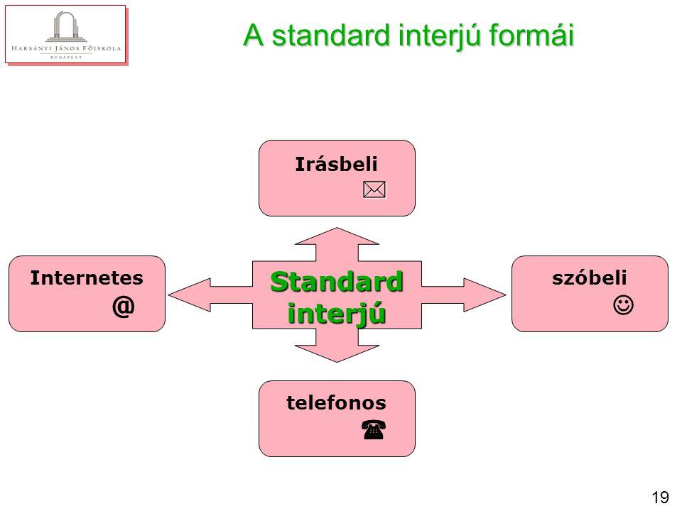 19 A standard interjú formái Standardinterjú Irásbeli  Internetes @ telefonos  szóbeli