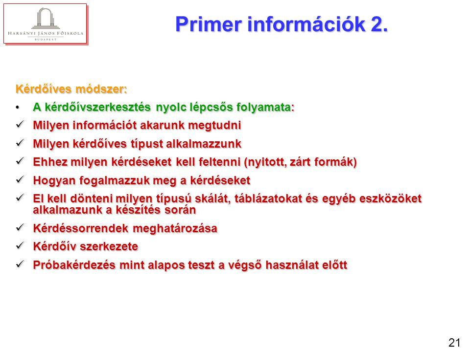 21 Primer információk 2. Kérdőíves módszer: A kérdőívszerkesztés nyolc lépcsős folyamata:A kérdőívszerkesztés nyolc lépcsős folyamata: Milyen informác
