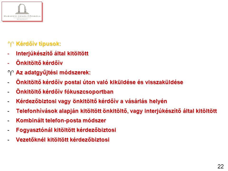 22 ^Kérdőív típusok: -Interjúkészítő által kitöltött -Önkitöltő kérdőív ^Az adatgyűjtési módszerek: -Önkitöltő kérdőív postai úton való kiküldése és v