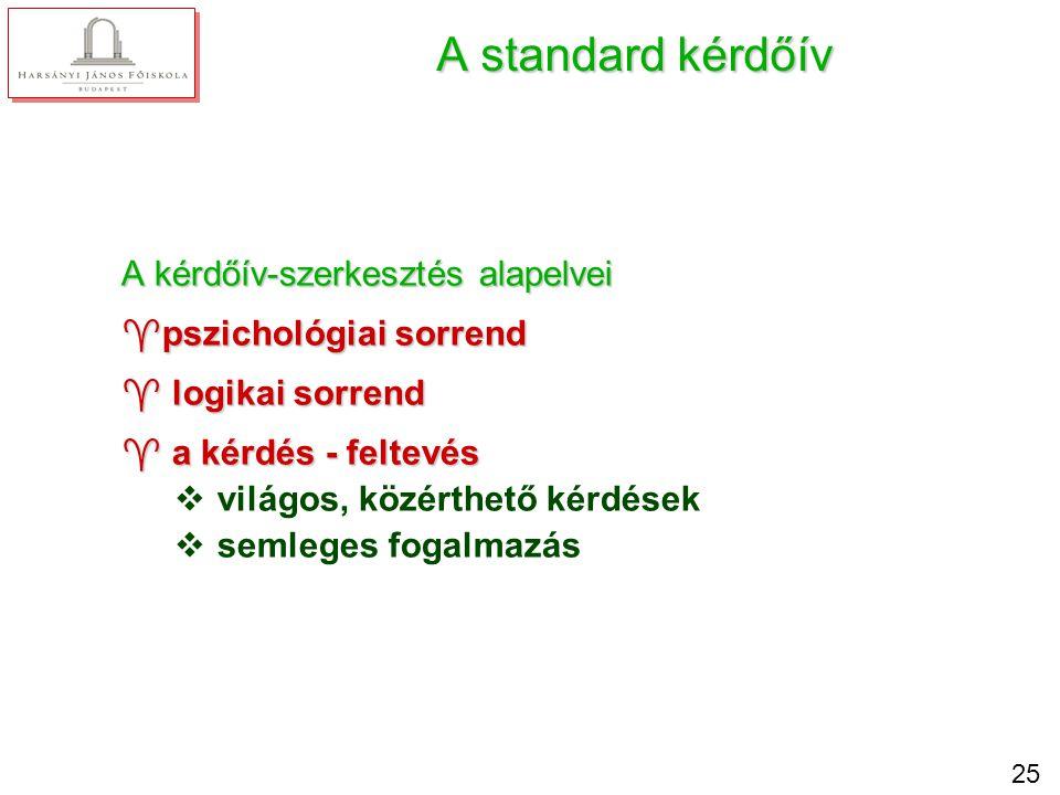 25 A standard kérdőív A kérdőív-szerkesztés alapelvei ^pszichológiai sorrend ^ logikai sorrend ^ a kérdés - feltevés v világos, közérthető kérdések v