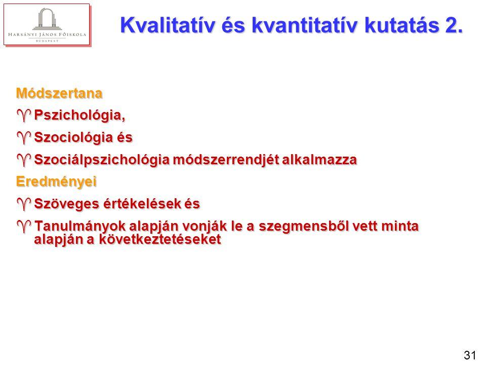 31 Kvalitatív és kvantitatív kutatás 2. Módszertana ^Pszichológia, ^Szociológia és ^Szociálpszichológia módszerrendjét alkalmazza Eredményei ^Szöveges