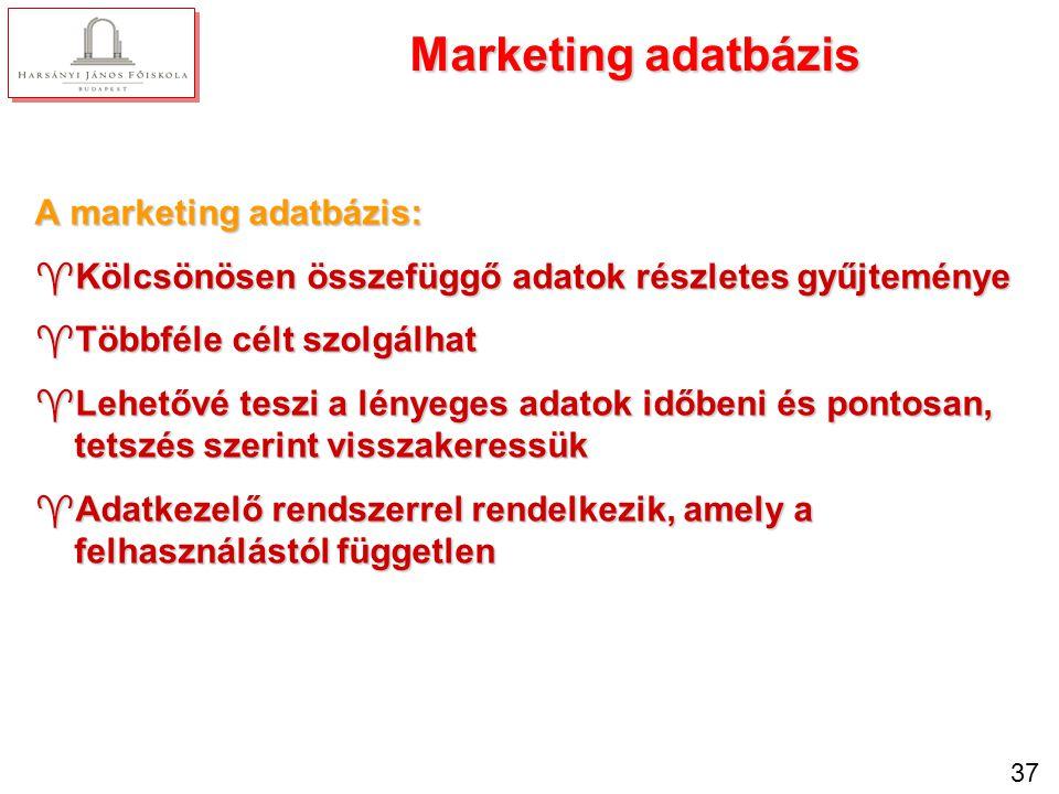 37 Marketing adatbázis A marketing adatbázis: ^Kölcsönösen összefüggő adatok részletes gyűjteménye ^Többféle célt szolgálhat ^Lehetővé teszi a lényege