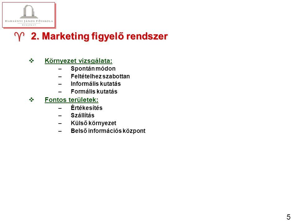 5 ^2. Marketing figyelő rendszer vKörnyezet vizsgálata: –Spontán módon –Feltételhez szabottan –Informális kutatás –Formális kutatás vFontos területek: