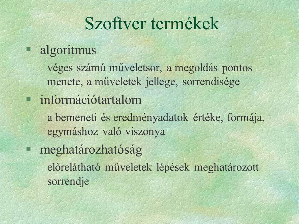 Az algoritmus sajátosságai § általános érvényűség § meghatározhatóság § végesség § determinizmus
