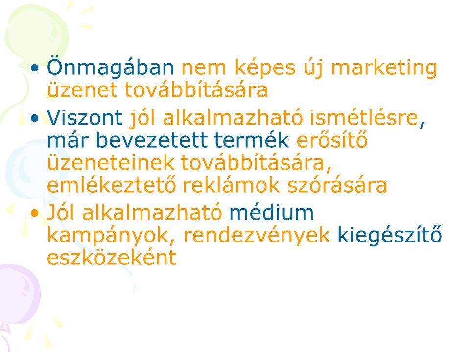 Önmagában nem képes új marketing üzenet továbbítására Viszont jól alkalmazható ismétlésre, már bevezetett termék erősítő üzeneteinek továbbítására, em