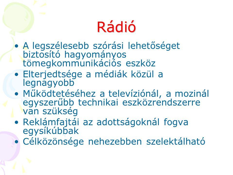 Rádió A legszélesebb szórási lehetőséget biztosító hagyományos tömegkommunikációs eszköz Elterjedtsége a médiák közül a legnagyobb Működtetéséhez a te