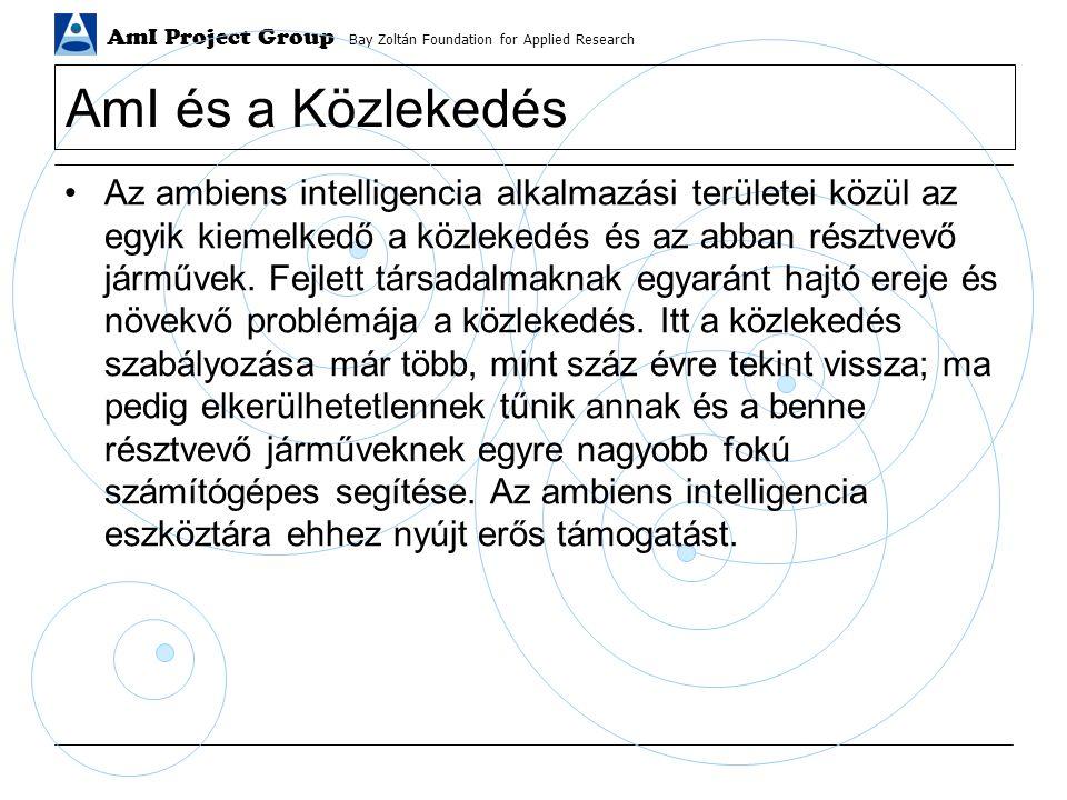 AmI Project Group Bay Zoltán Foundation for Applied Research AmI és a Közlekedés Az ambiens intelligencia alkalmazási területei közül az egyik kiemelkedő a közlekedés és az abban résztvevő járművek.