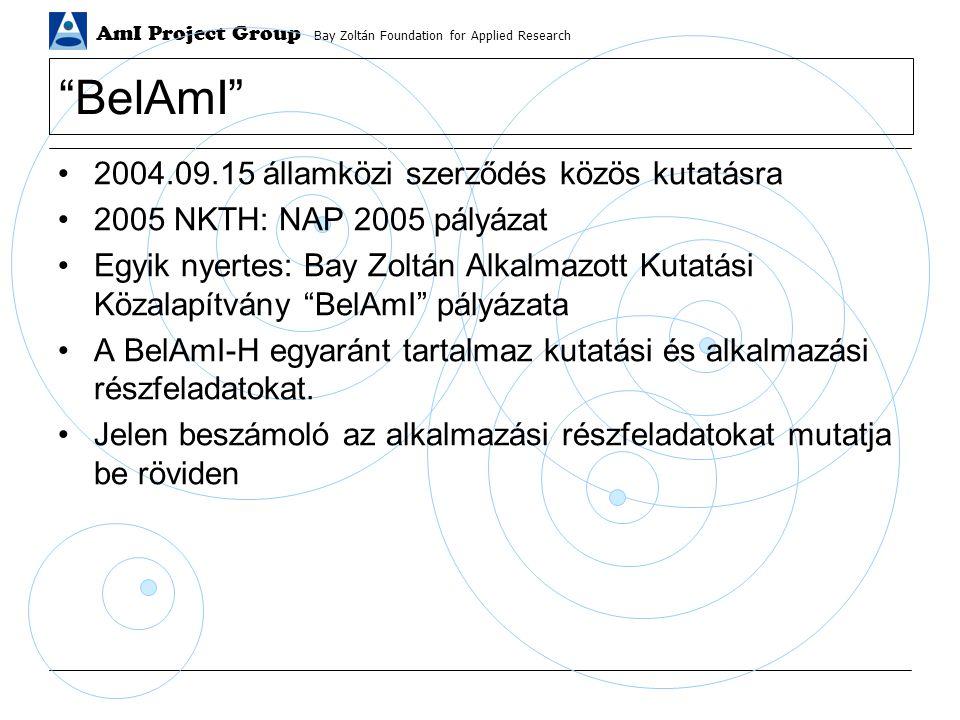 AmI Project Group Bay Zoltán Foundation for Applied Research BelAmI 2004.09.15 államközi szerződés közös kutatásra 2005 NKTH: NAP 2005 pályázat Egyik nyertes: Bay Zoltán Alkalmazott Kutatási Közalapítvány BelAmI pályázata A BelAmI-H egyaránt tartalmaz kutatási és alkalmazási részfeladatokat.