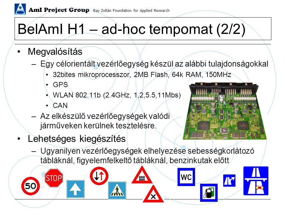 AmI Project Group Bay Zoltán Foundation for Applied Research BelAmI H1 – ad-hoc tempomat (2/2) Megvalósítás –Egy célorientált vezérlőegység készül az alábbi tulajdonságokkal 32bites mikroprocesszor, 2MB Flash, 64k RAM, 150MHz GPS WLAN 802.11b (2.4GHz, 1,2,5.5,11Mbs) CAN –Az elkészülő vezérlőegységek valódi járműveken kerülnek tesztelésre.