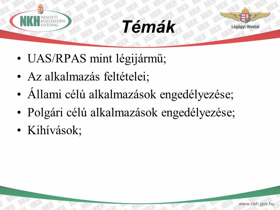 Témák UAS/RPAS mint légijármű; Az alkalmazás feltételei; Állami célú alkalmazások engedélyezése; Polgári célú alkalmazások engedélyezése; Kihívások;