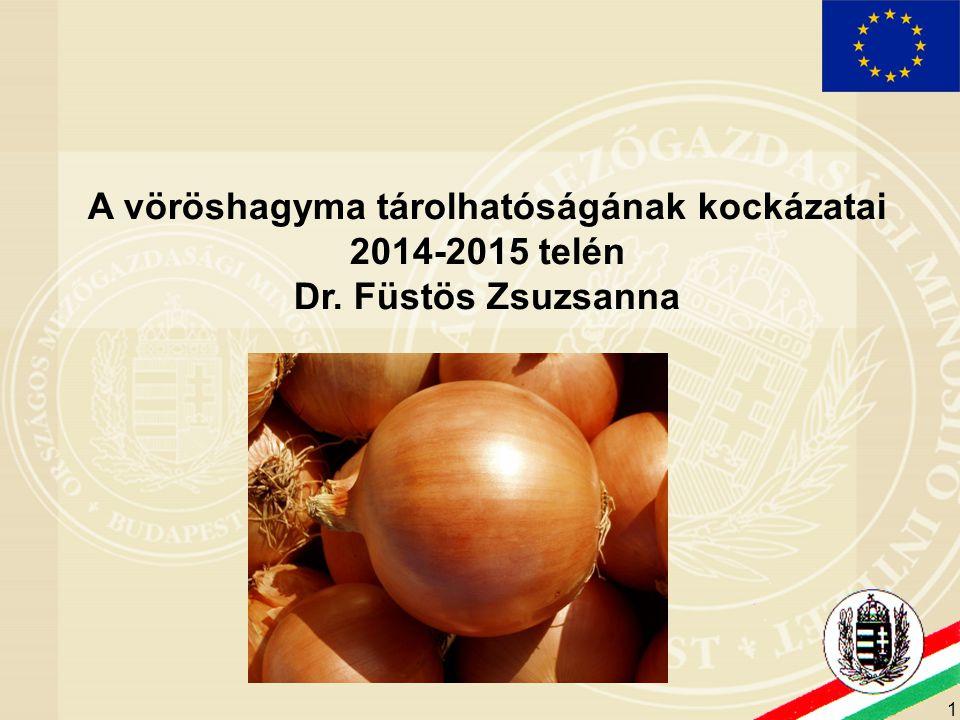 1 A vöröshagyma tárolhatóságának kockázatai 2014-2015 telén Dr. Füstös Zsuzsanna