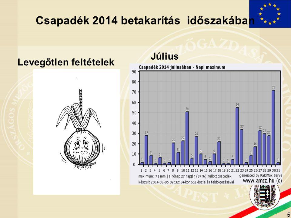 5 Csapadék 2014 betakarítás időszakában Levegőtlen feltételek Július