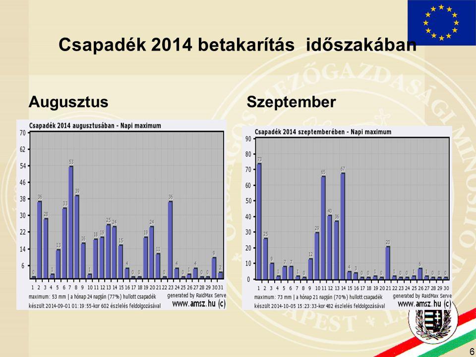 6 Csapadék 2014 betakarítás időszakában Augusztus Szeptember