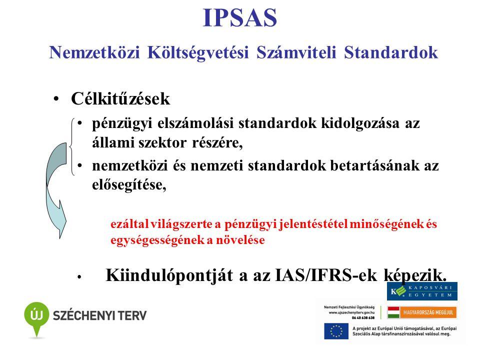 IPSAS Eredmény- illetve pénzforgalmi szemlélet Könyvvezetés Pénzforgalmi szemlélet alapján (Cash Basis Ipsas) Eredményszemlélet Cél: Eredményszemléletű számvitelre való áttérés állami szervek tényleges állapotnak megfelelő vagyoni-, pénzügyi és jövedelmi helyzetének bemutatása.
