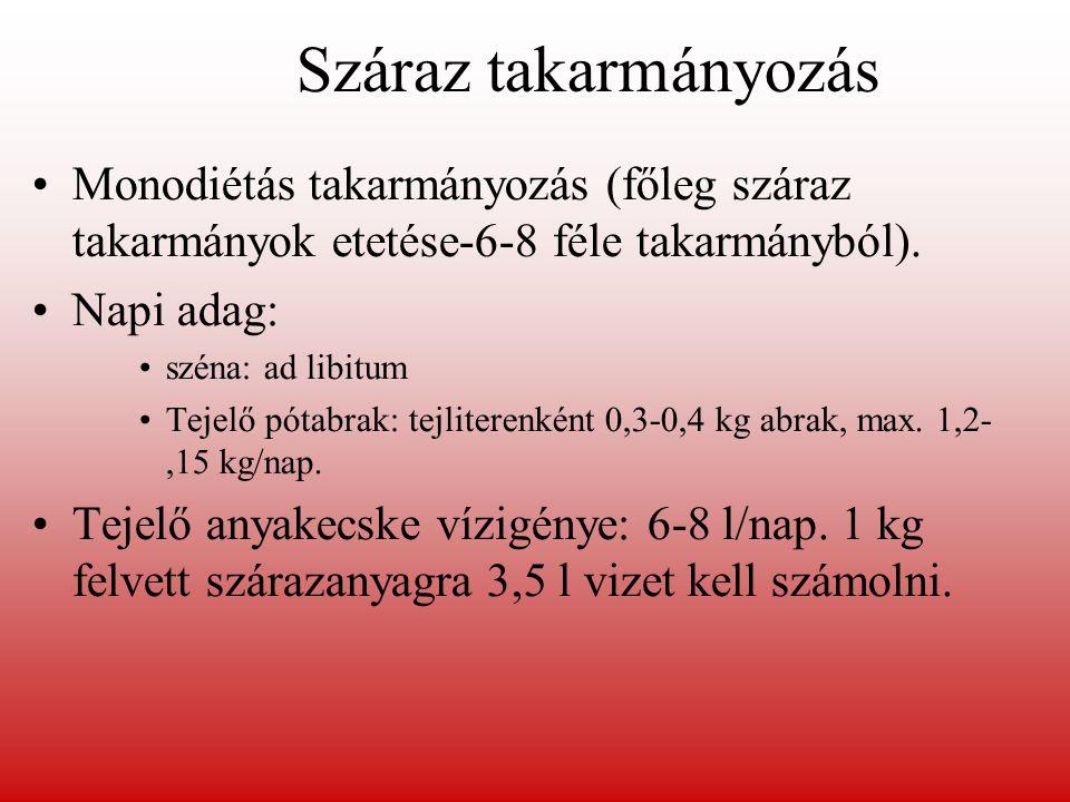 Száraz takarmányozás Monodiétás takarmányozás (főleg száraz takarmányok etetése-6-8 féle takarmányból). Napi adag: széna: ad libitum Tejelő pótabrak: