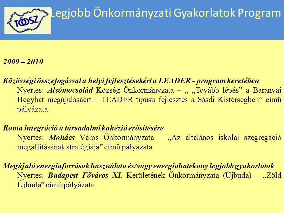 Legjobb Önkormányzati Gyakorlatok Program 2009 – 2010 Közösségi összefogással a helyi fejlesztésekért a LEADER - program keretében Nyertes: Alsómocsol