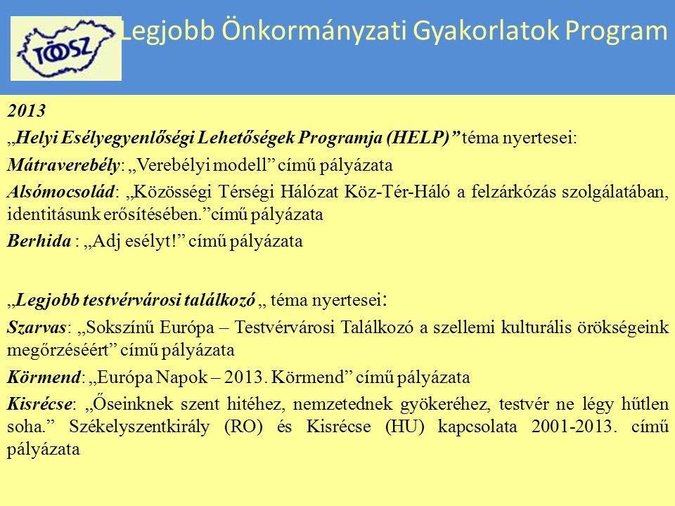 """Legjobb Önkormányzati Gyakorlatok Program 2013 """"Helyi Esélyegyenlőségi Lehetőségek Programja (HELP)"""" téma nyertesei: Mátraverebély: """"Verebélyi modell"""""""