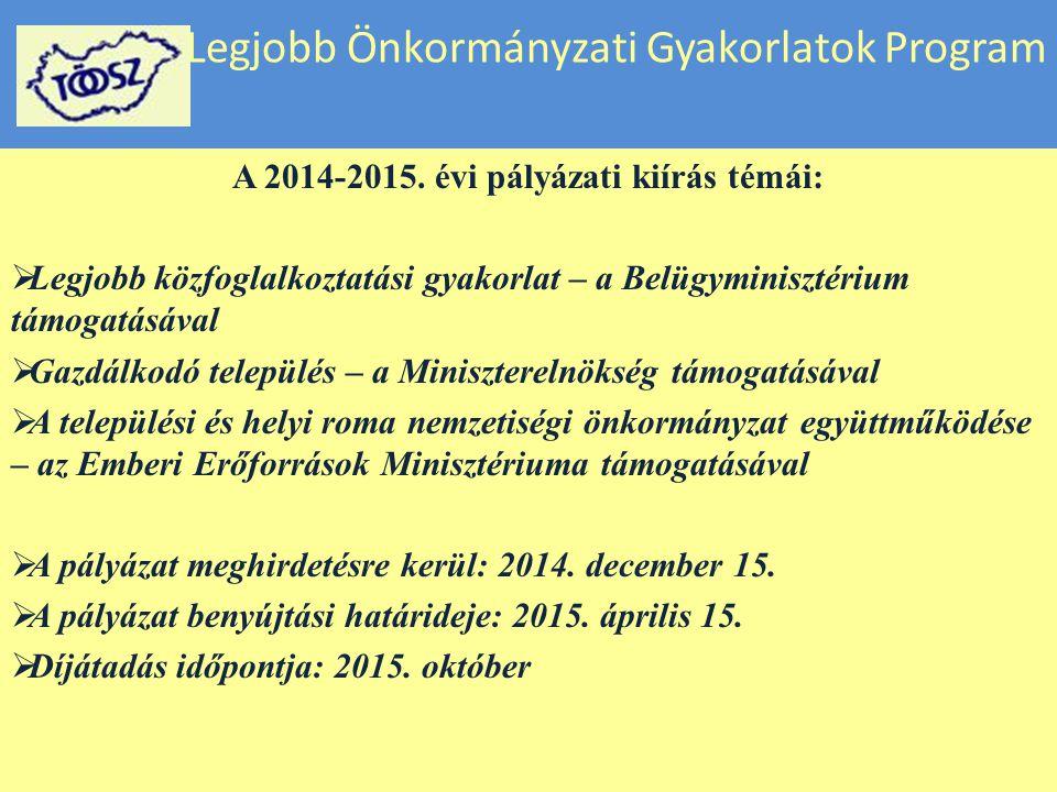 Legjobb Önkormányzati Gyakorlatok Program A 2014-2015. évi pályázati kiírás témái:  Legjobb közfoglalkoztatási gyakorlat – a Belügyminisztérium támog