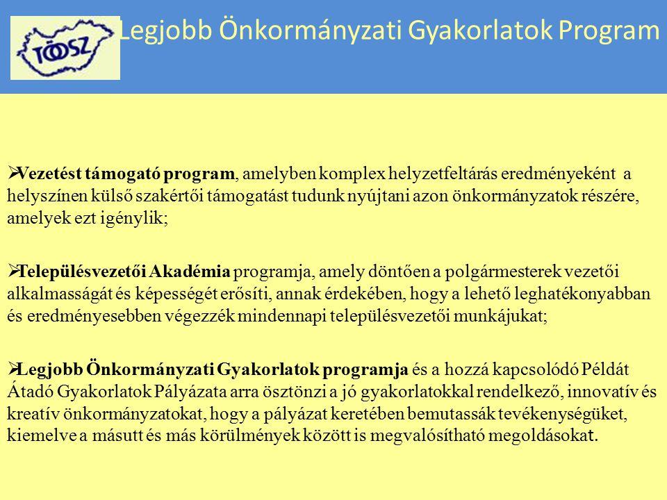 Legjobb Önkormányzati Gyakorlatok Program  Vezetést támogató program, amelyben komplex helyzetfeltárás eredményeként a helyszínen külső szakértői tám