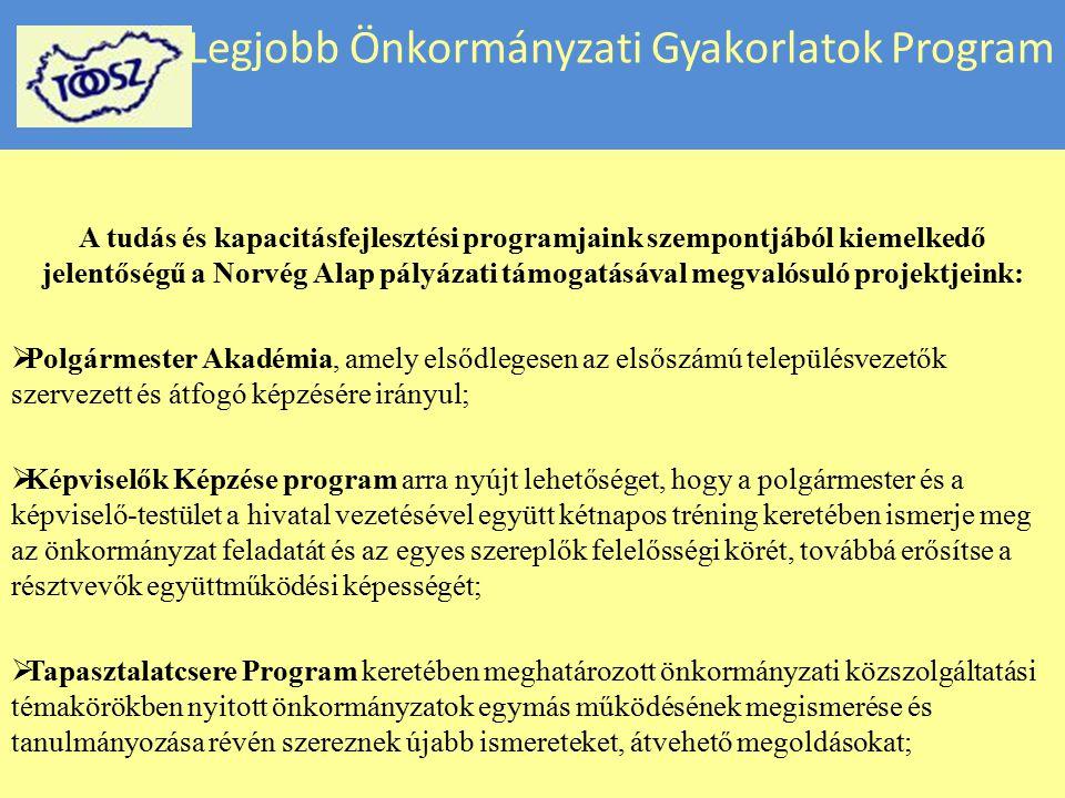 Legjobb Önkormányzati Gyakorlatok Program A tudás és kapacitásfejlesztési programjaink szempontjából kiemelkedő jelentőségű a Norvég Alap pályázati tá