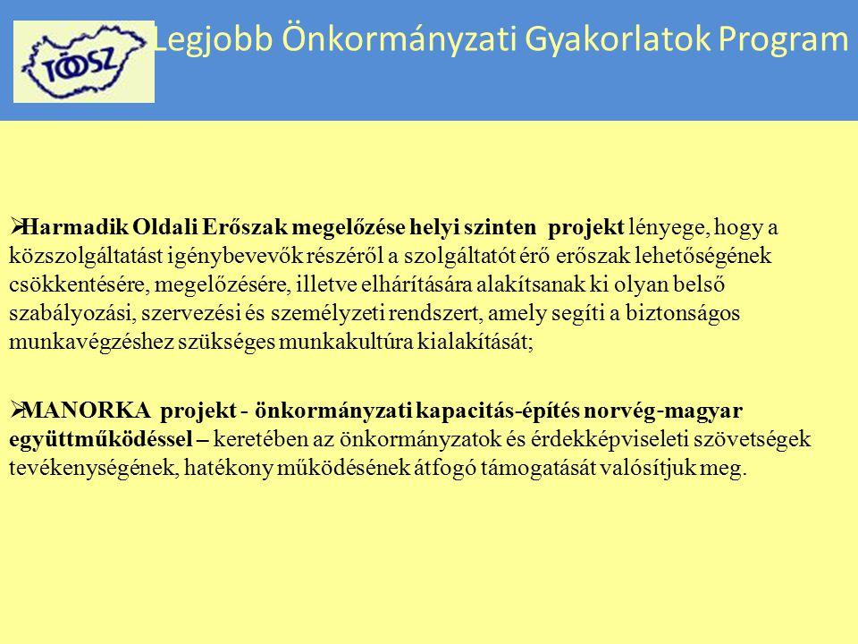 Legjobb Önkormányzati Gyakorlatok Program  Harmadik Oldali Erőszak megelőzése helyi szinten projekt lényege, hogy a közszolgáltatást igénybevevők rés