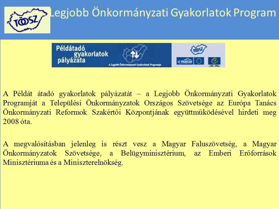 Legjobb Önkormányzati Gyakorlatok Program A Példát átadó gyakorlatok pályázatát – a Legjobb Önkormányzati Gyakorlatok Programját a Települési Önkormán