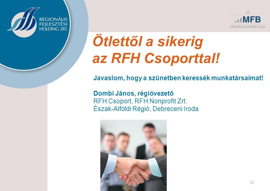 Ötlettől a sikerig az RFH Csoporttal. 12 Javaslom, hogy a szünetben keressék munkatársaimat.