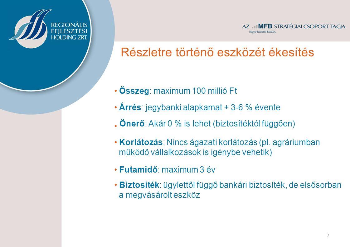 Összeg: maximum 100 millió Ft Futamidő: maximum 3 év Árrés: jegybanki alapkamat + 3-6 % évente 7 Korlátozás: Nincs ágazati korlátozás (pl.