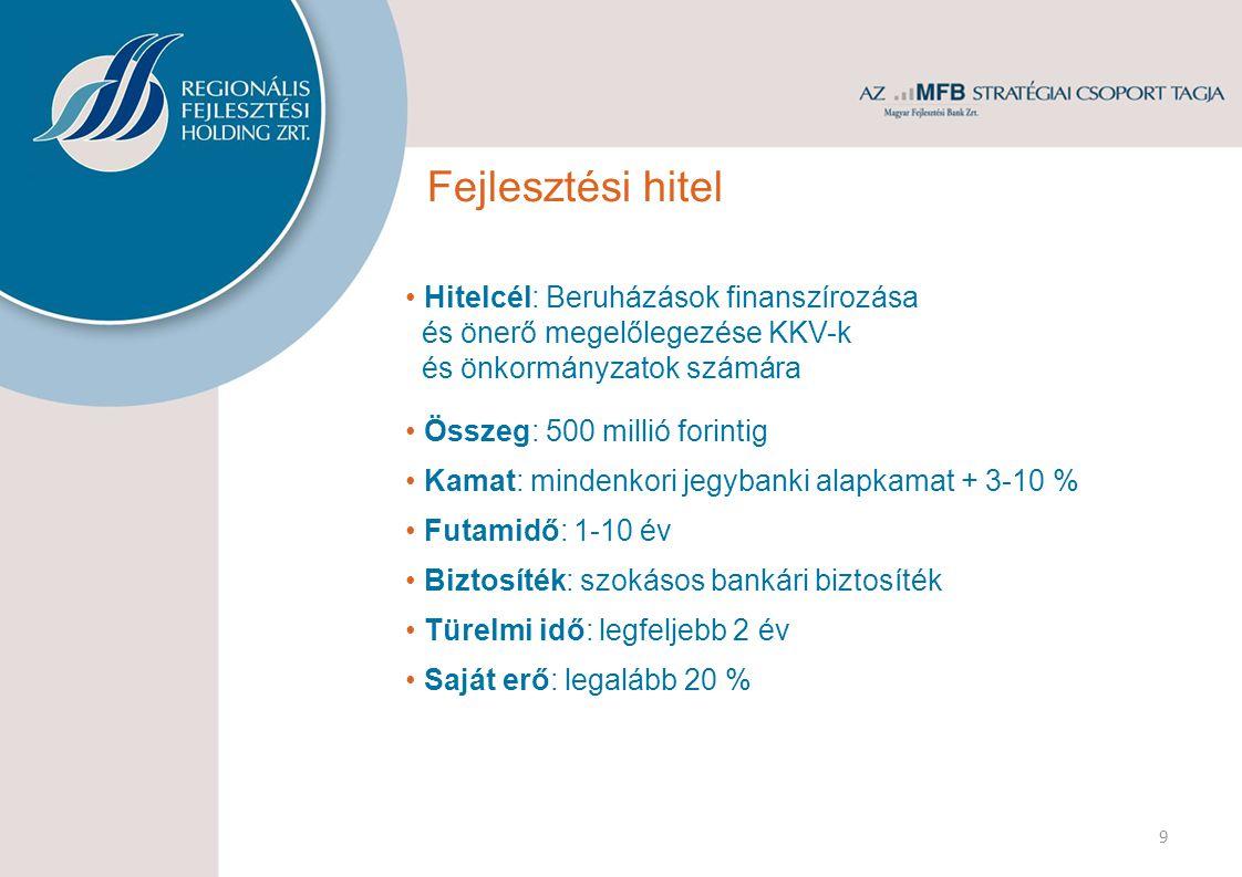 Igénylők: KKV-k és önkormányzatok (likviditási hitel) számára is biztosított Összeg: 100 millió forintig Kamat: mindenkori jegybanki alapkamat + 3-6 % Futamidő: maximum 3 év Hitelcél: Működés/termelés/szolgáltatás finanszírozása 10 Biztosíték: szokásos bankári biztosíték Forgóeszköz hitel Folyósítás: történhet rulírozó módon is