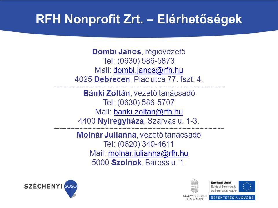 Dombi János, régióvezető Tel: (0630) 586-5873 Mail: dombi.janos@rfh.hudombi.janos@rfh.hu 4025 Debrecen, Piac utca 77. fszt. 4. -----------------------