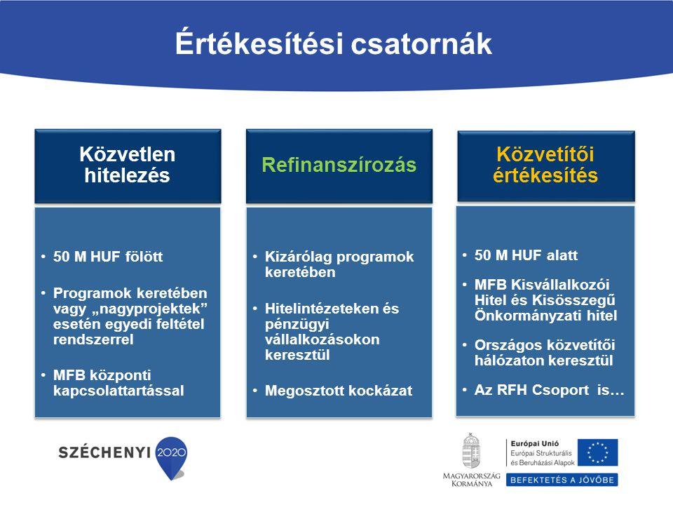 """Közvetlen hitelezés 50 M HUF fölött Programok keretében vagy """"nagyprojektek"""" esetén egyedi feltétel rendszerrel MFB központi kapcsolattartással Refina"""