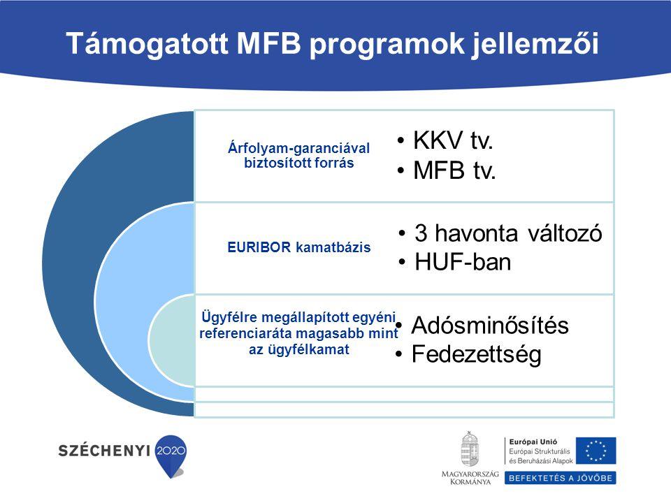 Árfolyam-garanciával biztosított forrás EURIBOR kamatbázis Ügyfélre megállapított egyéni referenciaráta magasabb mint az ügyfélkamat KKV tv. MFB tv. 3