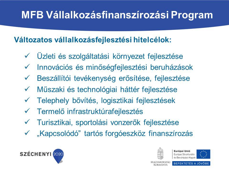 """MFB Vállalkozásfinanszírozási Program Változatos vállalkozásfejlesztési hitelcélok: Üzleti és szolgáltatási környezet fejlesztése Innovációs és minőségfejlesztési beruházások Beszállítói tevékenység erősítése, fejlesztése Műszaki és technológiai háttér fejlesztése Telephely bővítés, logisztikai fejlesztések Termelő infrastruktúrafejlesztés Turisztikai, sportolási vonzerők fejlesztése """"Kapcsolódó tartós forgóeszköz finanszírozás"""