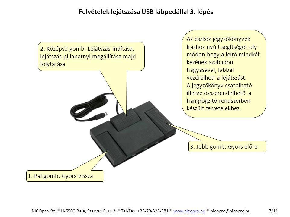 Felvételek lejátszása USB lábpedállal 3. lépés 2. Középső gomb: Lejátszás indítása, lejátszás pillanatnyi megállítása majd folytatása 1. Bal gomb: Gyo