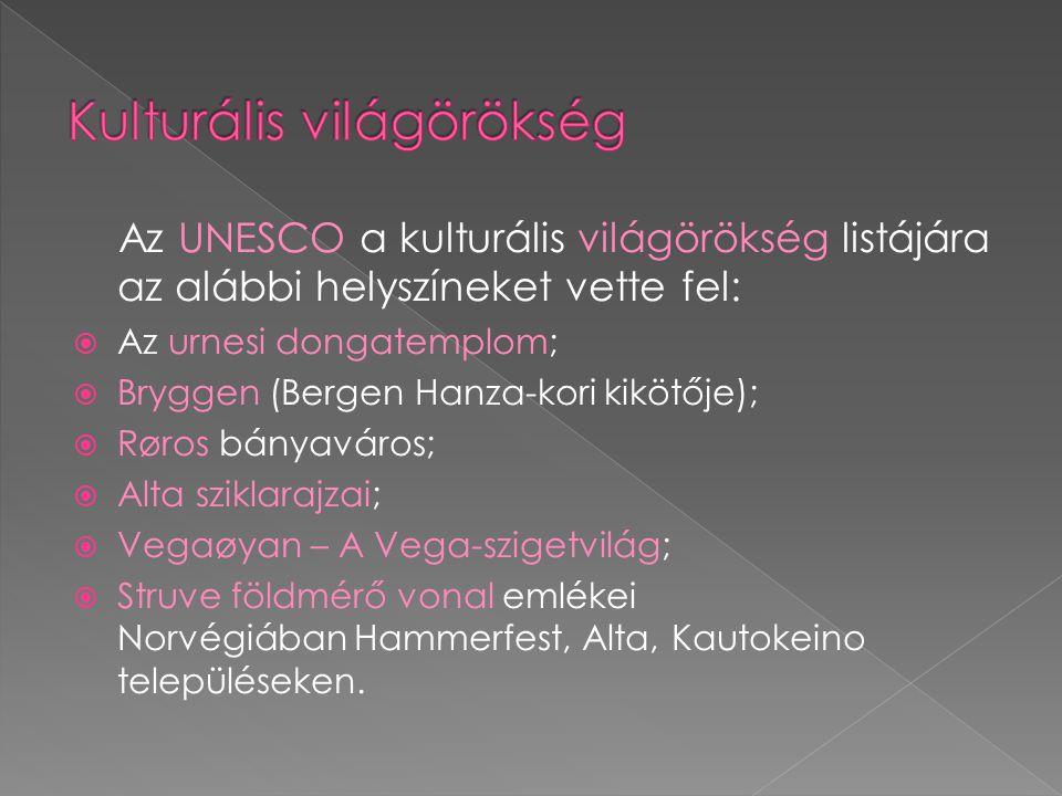 Az UNESCO a kulturális világörökség listájára az alábbi helyszíneket vette fel:  Az urnesi dongatemplom;  Bryggen (Bergen Hanza-kori kikötője);  Røros bányaváros;  Alta sziklarajzai;  Vegaøyan – A Vega-szigetvilág;  Struve földmérő vonal emlékei Norvégiában Hammerfest, Alta, Kautokeino településeken.